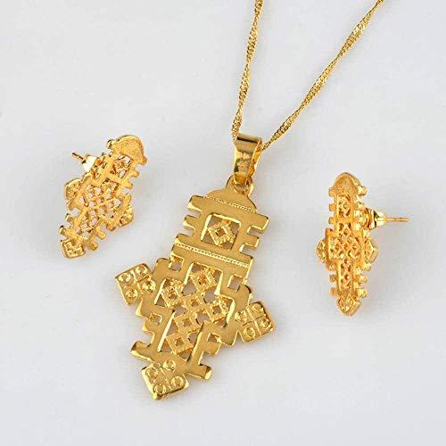 DUEJJH Co.,ltd Collar, Conjuntos de Joyas con Cruz etíope, Collar y Pendientes para Mujer, Color Dorado, Conjuntos de Cruces de Eritrea Africana, Cadena Fina de 45 cm