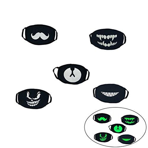VOSAREA Glow in Dark Gesichtmaske aus Baumwolle Anti Staub Wind Mundschutz Wiederverwendbar Mundmaske Staubschutzmasken leuchten im Dunkeln Gesichtmaske