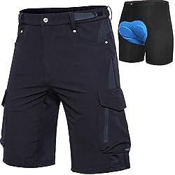 Cycorld MTB Hose Herren Fahrradhose mit Gepolstert, Schnelltrocknende MTB Shorts Herren Mountainbike Hose Baggy Bike Shorts, Atmungsaktiv Radhose mit Verstellbaren Klettverschlüssen (Schwarz,XL)