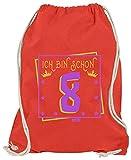 Hariz - Bolsa de deporte con texto en alemán 'Ich Bin Schon Ocht Corona estrellas', rojo (Rojo) - AchterGeburtstag26-WM110-9-1