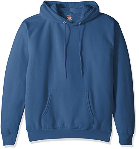 Hanes Men's Pullover EcoSmart Fleece Hooded Sweatshirt, denim blue, Large