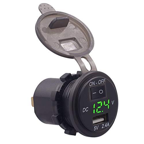 Voltímetro Digital para Coche de 12 V, medidor de voltios, Cargador USB con Control de Interruptor (luz Verde Negra)