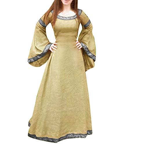 Auifor Vestido Medieval de Mujer Renacimiento Fit Vestido Largo Irregular de Manga Larga Cosplay