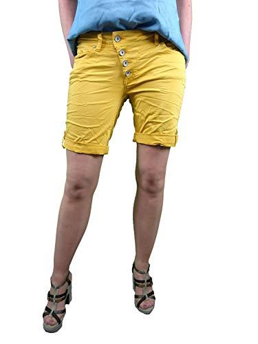 Buena Vista | Damen Sommer Shorts |farbige Bermuda | Malibu | Stretch Twill | Kurze Hose zum krempeln golden Rod S