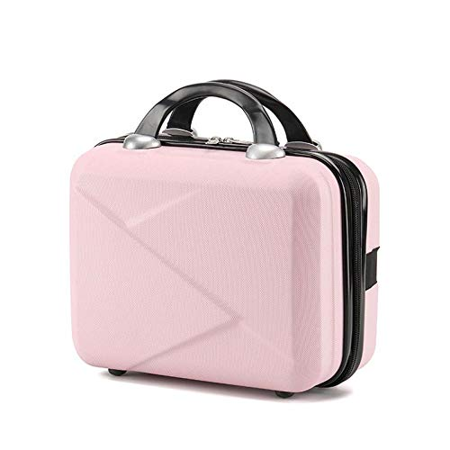 zyl 14inches Small Cosmetic Bag,Mini Suitcase,Hard Shell Beauty Vanity Make Up Case,ABS Travel Luggage Bag,Pink