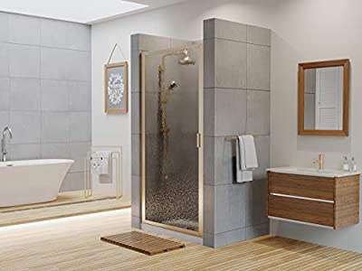 """Coastal Shower Doors P33.66N-A Paragon Series Framed Continuous Hinge Shower Door with Aquatex Glass, 33"""" x 65"""", Brushed Nickel"""