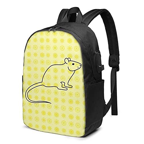 Laptop Backpack with USB Port Mouse Rat Rodent, Business Travel Bag, College School Computer Rucksack Bag for Men Women 17 Inch Laptop Notebook