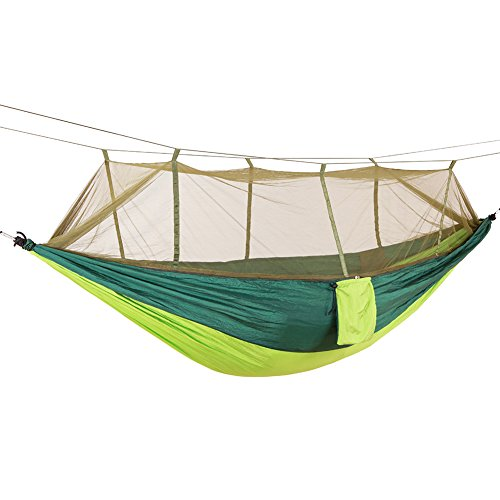 DaiHan Camping Hamaca con mosquitera Ligero Nylon paracaídas Hamaca Hamaca de Carga para jardín al Aire Libre Camping Senderismo Mochila de Viaje Doble Verde M