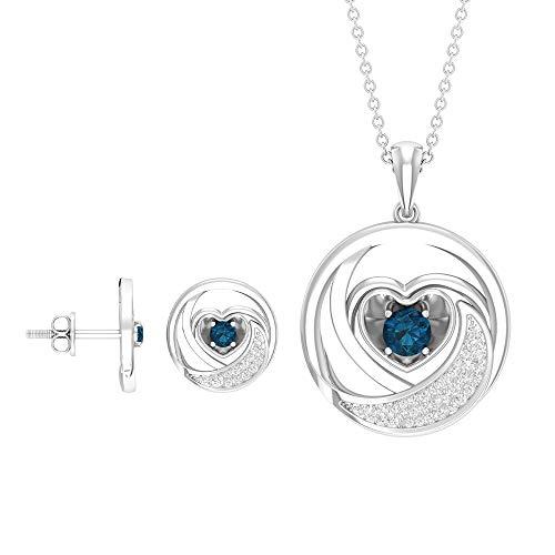 3/4 CT London Topacio azul topacio, collar y pendientes, collar con colgante de diamante, juego de joyería de corazón de oro (calidad AAA) azul