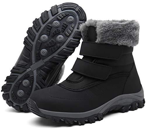 Gaatpot Damen Winterstiefel Wasserdicht Warm gefütterte Schneestiefel Winterschuhe Winter Kurzschaft Leder Stiefel Boots Schuhe Schwarz(Black) 39 EU/40CN