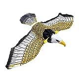 RHNE Repelente de pájaros Luminoso, águila eléctrica Colgante con música, espantapájaros voladores, búho Volador portátil, decoración de jardín de pájaros, Colorido
