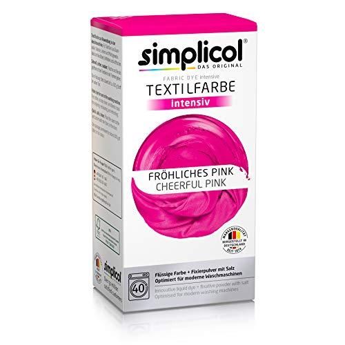 Simplicol Textilfarbe intensiv (18 Farben), Fröhliches Pink 1805: Einfaches Färben in der Waschmaschine, All-in-1 Komplettpackung