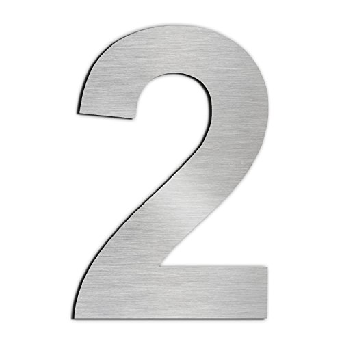 Cepillado número de casa 2 Dos -15.3 cm 6 in-made de sólido Acero inoxidable 304 flotante apariencia, fácil de instalar