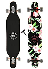 42*9.5 inches with 9 piles of Canadian maple. Supported by aluminum alloy stent. 70mm*52mm wheels with 83A hardness. ABEC 9 bearings with high-speed inbricant. Strong and complete packaging.