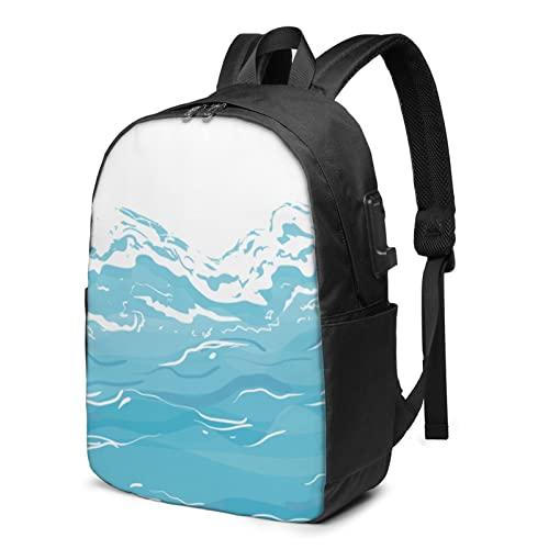 Ocean Wave Zaino da viaggio per laptop con porta USB di ricarica per uomini e donne da 17', Nero , Taglia unica,