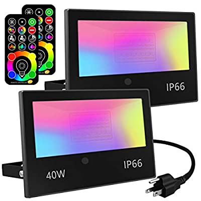 Led Flood Light 400W Equivalent, RGB Led Outdoor Lights Colored Floodlight with Remote,40W,4000ML 2700K,120 Colors, Timing, Dimmable, Custom Modes, Wall Light Stage Lights Landscape Lighting (2 Pack)