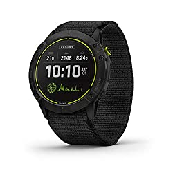 Best rugged smartwatch with longest battery life - most durable smartwatch battery life - Garmin Enduro, Ultraperformance Multisport GPS Watch, Solar Charging, Battery Life Up to 80 Hours in GPS Mode, Carbon Gray DLC Titanium with Black UltraFit Nylon Band