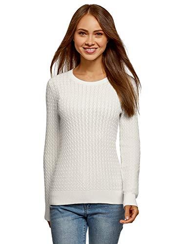 oodji Collection Mujer Jersey de Punto Texturizado con Trenzas Pequeñas, Blanco, ES 38 / S