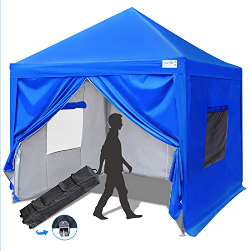 Quictent Privacy 8x8 EZ Pop Up Canopy Tent Instant Shelter with Sides and Mesh Windows Waterproof -8 Colors (Royal Blue)