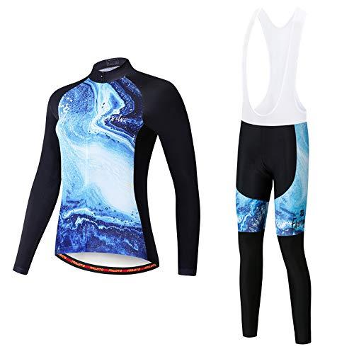 Ciclismo Maillot para Mujer Secado Rápido Jersey Pantalones Culotes de Malla de Bicicleta Transpirable con Almohadilla 3D Largos Mangas de Secado Rápido Ciclismo Conjunto de Ropa,A1,S