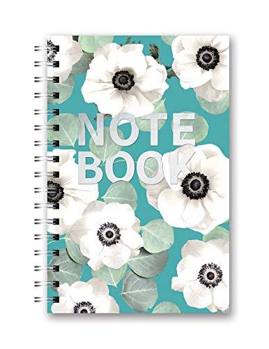 Studio Oh! Medium Hardcover Spiral Notebook, White Flowers on Slate Blue (SJ098)