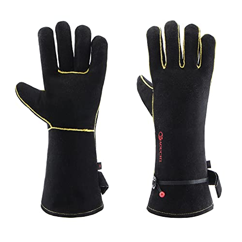 Leather Forge Welding Gloves 932℉ Heat/Fire Resistant for Welder, BBQ,14 inch