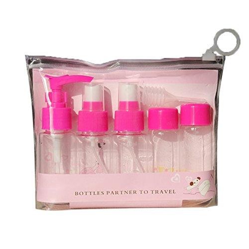 Elonglin 7Pcs Trousse de Voyage Transparente Flacons et Vaporisateurs Vides Pots de Voyage Cosmetique Bouteilles Vides pour Vacances Rose Foncé