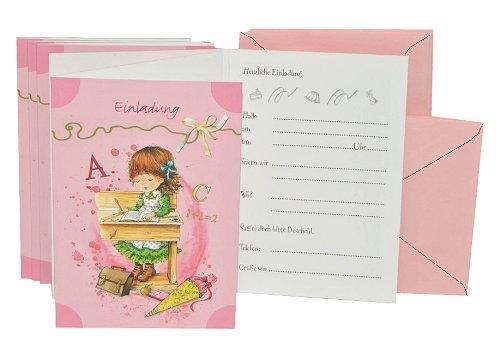 alles-meine.de GmbH 10 TLG. Set Einladungskarten + Umschlag - Mädchen Schulanfang Einladung Karte Schuleinführung Schule Party