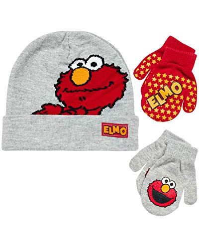 Sesame Street Elmo Hat and 2 Pair Mittens Cold Weather Set, Size Age 2-4, Elmo Reversible Hat 2-4