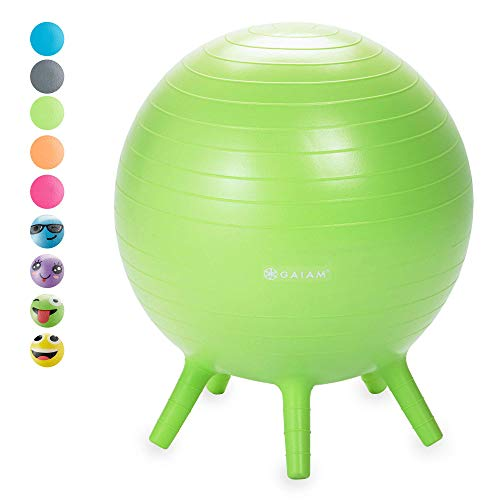 Gaiam Kids Stay-N-Play Childrens Balance Ball - Flexible School Chair Active Classroom Desk Alternative Seating | Built-In Stay-Put Soft Stability Legs, Includes Air Pump, 45cm, Lime