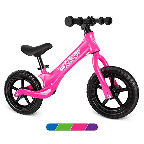 Beleev Balance Bike Aluminum Alloy, No Pedal Toddler Bike Adjustable Seat, Lightweight Sports Training Bicycle for Kids Age 2 to 6 Years Old(Pink)