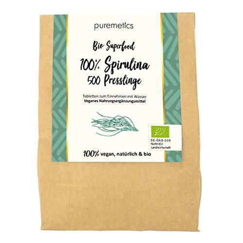 Puremetics Zero Waste Bio Spirulina persing (500 stuks) | 100% natuurlijk, veganistisch & plasticvrij | voedingssupplement | Bio Superfood zonder plastic