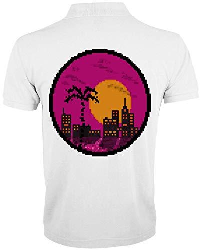 Desconocido Vaporwave Aesthetic 8Bit Style Miami Sunset Polo de Hombre X-Large
