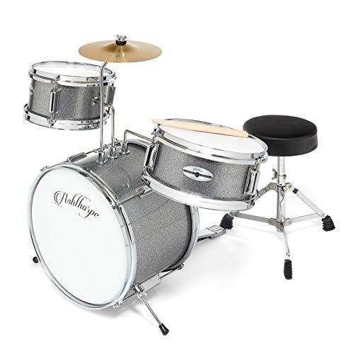 Ashthorpe 3-Piece Complete Kid's Junior Drum Set - Children's Beginner Kit with 14' Bass, Adjustable Throne, Cymbal, Pedal & Drumsticks - Silver