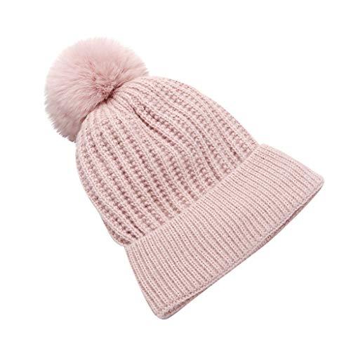 ZZBO Mütze Beanie Feinstrick Strickmütze Wintermütze Damen Skimütze Schneeflockendruck Mütze Warm Halten Cap Sleeve mit Bommeln Plush Kopfbedeckung