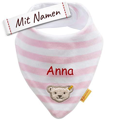 LALALO LALALO Steiff Halstuch bestickt mit Namen, Baby Dreieckstuch/Nickytuch personalisiert, Nickituch Teddy Bär, Streifen & Klettverschluss, Mädchen (Rosa/Pink)