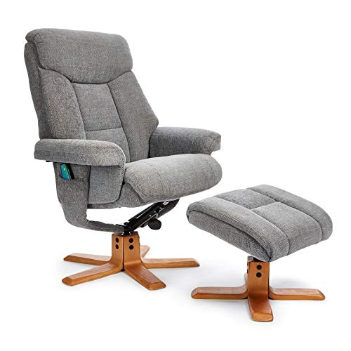 Morris Living Exmouth Fabric Swivel Recliner Massage Chair & Footstool Charcoal & Cherry Legs