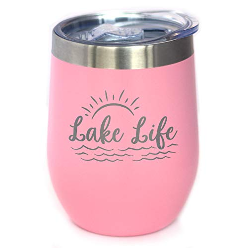 Lake Life - Wine Tumbler with Sliding Lid - Stemless Stainless Steel Insulated Cup - Cute Outdoor Camping Mug - Pink