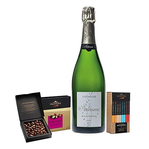 Coffret Cadeau Dégustation Champagne Brut et Coffrets Chocolats Grands Crus Valrhona,