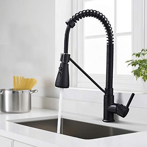 Onyzpily Grifo mezclador para fregadero de cocina ORB con boquilla de resorte negra de 360 grados, con un solo agujero, boquilla contemporánea de una sola palanca