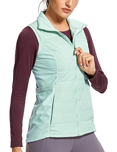 CRZ YOGA Women's Athletic Workout Run Down Puffer Vest Lightweight Full-Zip with Pockets Ice Cream Green Medium