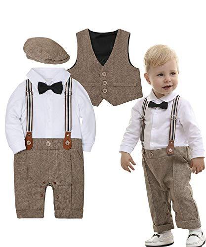 Zoerea 3tlg Baby Jungen Bekleidungssets Strampler + Weste + Hut Fliege Krawatte Anzug Gentleman Festliche Taufe Hochzeit Langarm Baby Kleikind- Gr....