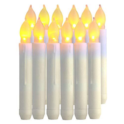 Velas LED Sin Fuego,12pcs Velas Electrónicas Funciona con Pilas Velas Sin Llama LED Taper Velas de Luz para San Valentín,Cumpleaños,Fiestas,Navidad,Festivales,Decoración (Luz Blanca Cálida)