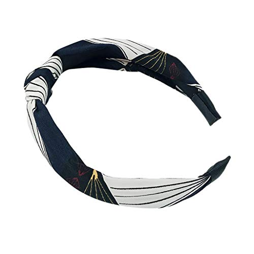 Sayhi Wide-Brimmed Cross Knot Hairbands Women's Knot Turban Headband Hair Accessories for Girls (Navy,Free Size)