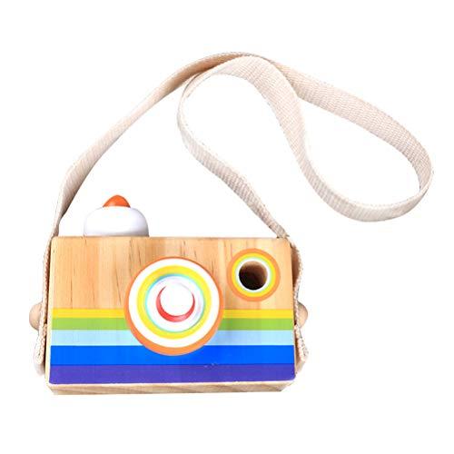 Toyvian Holz Regenbogen Kamera Spielzeug Kaleidoskop Kamera Objektiv Pretend Play Spielzeug mit Seil Pädagogisches Spielzeug für Kinder Kleinkinder