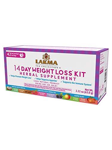 Lakma Wellness Tea 14 Days Weight Loss Kit - 42 Tea Bags (100% Natural, Sugar Free, Gluten Free and Non-GMO)