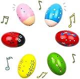 Tougo 6 piezas percusión divertido huevo Musical Maracas de madera huevo...