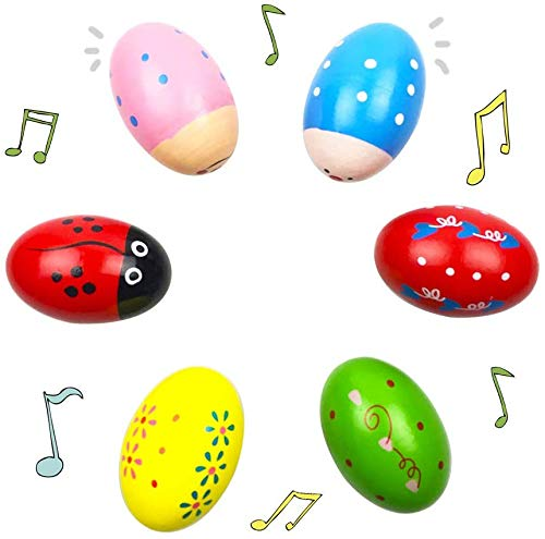 [Große Version] Tougo 6 Stück Farbig Holz Egg Maracas Musik Percussion Baby Kids Kinder Spielzeug Egg Shaker (Sortiert Farbe)