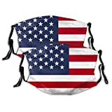 New 2 Face Mouth Mask Patriotic USA American Flag Face Shields Comfy Breathable Balaclavas (Filter Included)