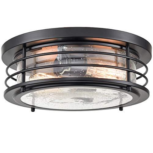 Black Flush Mount Ceiling Light 2-Light Seeded Glass Shade Lighting Fixtures Ceiling